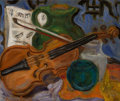 Fine Art - Painting, American, Morgan Russell (American, 1886-1953). Still Life withViolin, circa 1925. Oil on canvas. 15-1/4 x 18 inches (38.7 x45.7...