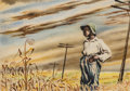 Fine Art - Work on Paper, Georges Schreiber (American, 1904-1977). Boy in Cornfield,1942. Watercolor on board. 12-1/2 x 17-3/8 inches (31.8 x 44....