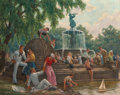 Fine Art - Painting, American, Henry Schnakenberg (American, 1892-1970). Summer in the Park(Central Park, Bethesda Fountain). Oil on canvas. 56 x 70 i...