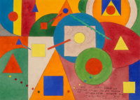 Lloyd Ney (American, 1893-1965) Group of Four Geometric Abstractions, circa 1940 Gouache, watercolor