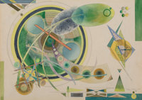 Lloyd Ney (American, 1893-1965) Composition #5, 1950 Watercolor and ink on paper 14 x 19-7/8 inch