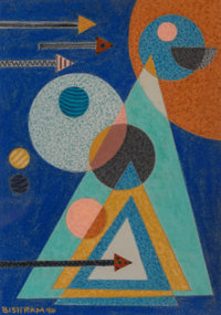Emil James Bisttram (American, 1895-1976) Triangles and Circles, 1940 Encaustic on paper 9-3/4 x
