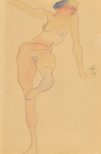 Charles Demuth (American, 1883-1935) Female Nude Figure Number Five (double-sided work), 1912 Waterc