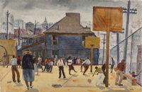 Phil Dike (American, 1906-1986) Playground, Temple Street School Watercolor on paper 15-1/2 x 22-