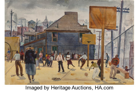 Phil Dike (American, 1906-1986) Playground, Temple Street School Watercolor on paper 15-1/2 x 22-3/4 inches (39.4 x 5...