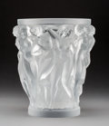 Art Glass:Lalique, Lalique Clear and Frosted Glass Bacchantes Vase. In originalLalique box. Post-1945. Engraved Lalique, France,...