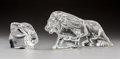 Glass, Baccarat Clear Glass Lion and Orrefors Rabbit Figures. 20th century. Engraved Baccarat; orrefors. L. 11 in. (larger, lio... (Total: 2 Items)