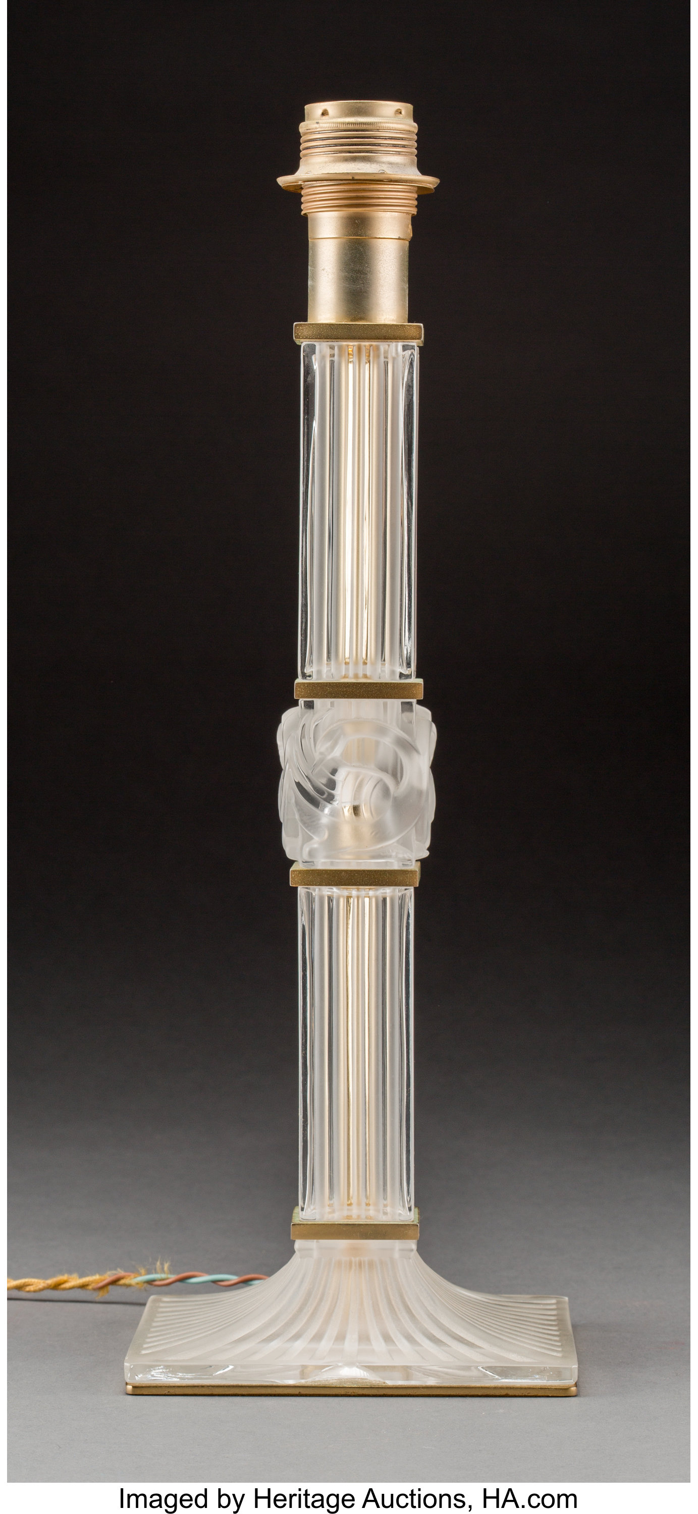 Lalique Frosted Glass and Gilt Metal Josephine Lamp | Lot