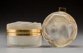 Art Glass:Lalique, Two Lalique Frosted Glass and Gilt Metal Daphne PowderBoxes. Post-1945. Engraved Lalique, France . Ht. 2-1/...(Total: 2 Items)