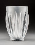 Art Glass:Lalique, Lalique Clear and Frosted Glass Courchevel Vase. Post-1945.Engraved Lalique, France. Ht. 8-1/8 in.. ...