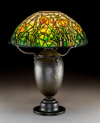 Tiffany Studios Leaded Glass and Bronze Daffodil Table Lamp Circa 1915. Stamped T