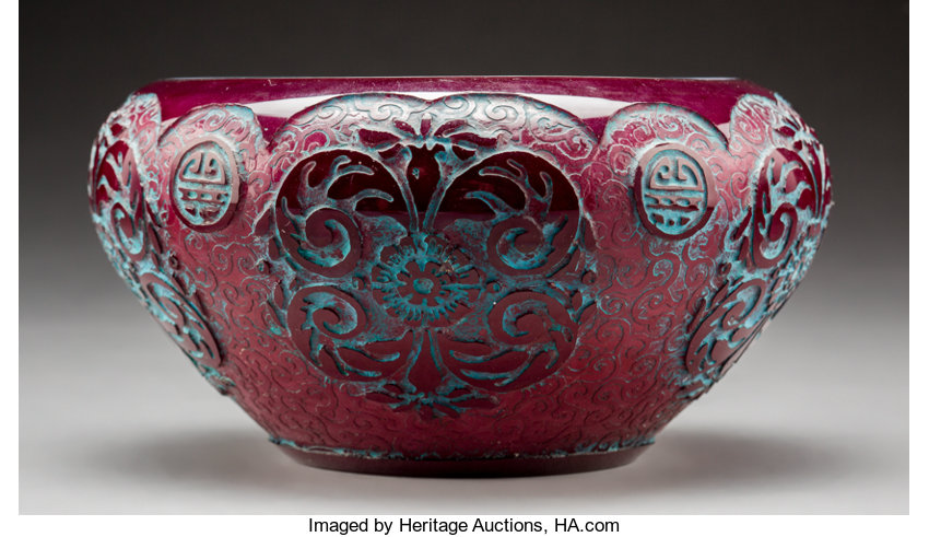 fe64c6227a9e Steuben Acid-Etched Cased Purple Glass Chinese Bowl with Blue ...