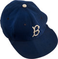 Baseball Collectibles:Uniforms, Circa 1956 Don Drysdale Game Worn Brooklyn Dodgers Rookie-Era Cap with Drysdale Family Letter.. ...