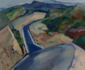 Fine Art - Painting, American, Belle Goldschlager Baranceanu (American, 1902-1988). Road NearMount Wilson, California. Oil on canvas. 20 x 24 inches (...