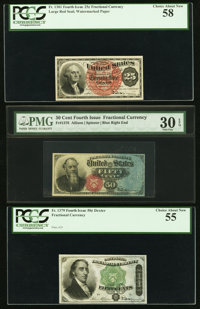Fr. 1301 25¢ Fourth Issue PCGS Choice About New 58 Fr. 1376 50¢ Fourth Issue PMG Very Fine 30 EPQ Fr. 1379 50&...