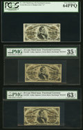 Fractional Currency:Third Issue, Five Third Issue 25¢ Fessenden Notes.. ... (Total: 5 notes)