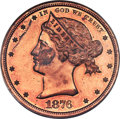 Patterns, 1876 $1 Sailor Head Dollar, Judd-1463a, Pollock-1614, R.8 - Unique, PR62 Red and Brown PCGS....