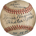 Autographs:Baseballs, 1946 Honus Wagner Single Signed Baseball.. ...