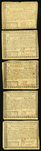 Colonial Notes:Rhode Island, Rhode Island July 2, 1780 $4 Very Fine+, Five Examples.. ...(Total: 5 notes)