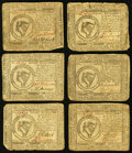 Colonial Notes:Continental Congress Issues, A sextuplet of $8 Continental Currency from Various Resolutions, Very Good or better. Six Examples.. ... (Total: 6 notes)