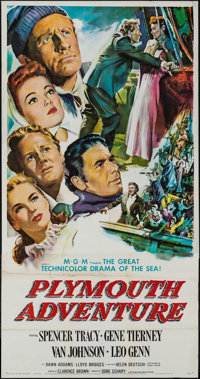 """Plymouth Adventure (MGM, 1952). Three Sheet (41.25"""" X 79"""") & Deluxe Lobby Cards (8) (11"""" X 14&quo..."""