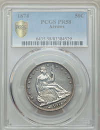 1874 50C Arrows PR58 PCGS Secure. PCGS Population: (4/257 and 0/2+). NGC Census: (0/168 and 0/2+). Mintage 700. ...(PCGS...