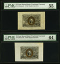 Fractional Currency:Second Issue, Fr. 1283SP 25¢ Second Issue Wide Margin Face Two Examples PMG Graded.. ... (Total: 2 notes)