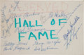 Football Collectibles:Others, Mid 1960's Pro Football Hall of Fame Multi-Signed Cardboard Place Card - With Blood, Herber Grange, Nagurski, etc....