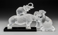 Art Glass:Lalique, Lalique Glass Toba Rhinoceros, Gregoire Toad, PolarBear and Elephant. Post-1945. Engraved Lalique... (Total: 4Items)