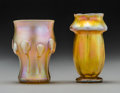 Art Glass:Tiffany , Two Tiffany Studios Gold Favrile Glass Bud Vases. Circa 1905-1916.Engraved L.C.T., W206; L.C.Tiffany-Favrile, 1047-8627K...(Total: 2 Items)