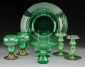 Art Glass:Steuben, Seven Steuben Green Glass Tableware Items. Circa 1920. Acid-etched STEUBEN, (fleur de lis), (various). Ht. 6-1/8 in. (talles... (Total: 7 Items)