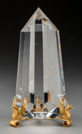 Art Glass:Steuben, Another Steuben 18K and Clear Glass Pillar of the GriffinsDesk Obelisk. Circa 1969. Stamped 18K S; Engraved S...