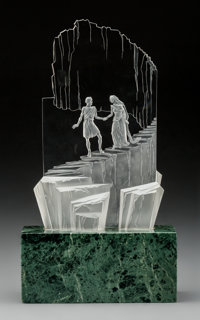 Steuben Clear and Frosted Glass Telos Poetry on Marble Base Circa 1965. Engraved