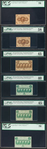 Fractional Currency:First Issue, Six First Issue Fractionals. . ... (Total: 6 notes)