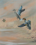 American:Sporting, Harry Curieux Adamson (American, 1916-2012). Spotting theTeals, 1939. Gouache on board. 14-1/2 x 11-1/2 inches (36.8 x...