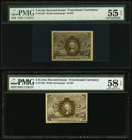 Fractional Currency:Second Issue, Fr. 1233 5¢ Second Issue PMG Choice About Unc 58 EPQ;. Fr. 1233 5¢ Second Issue PMG About Unc 55 EPQ.. ... (Total: 2 notes)