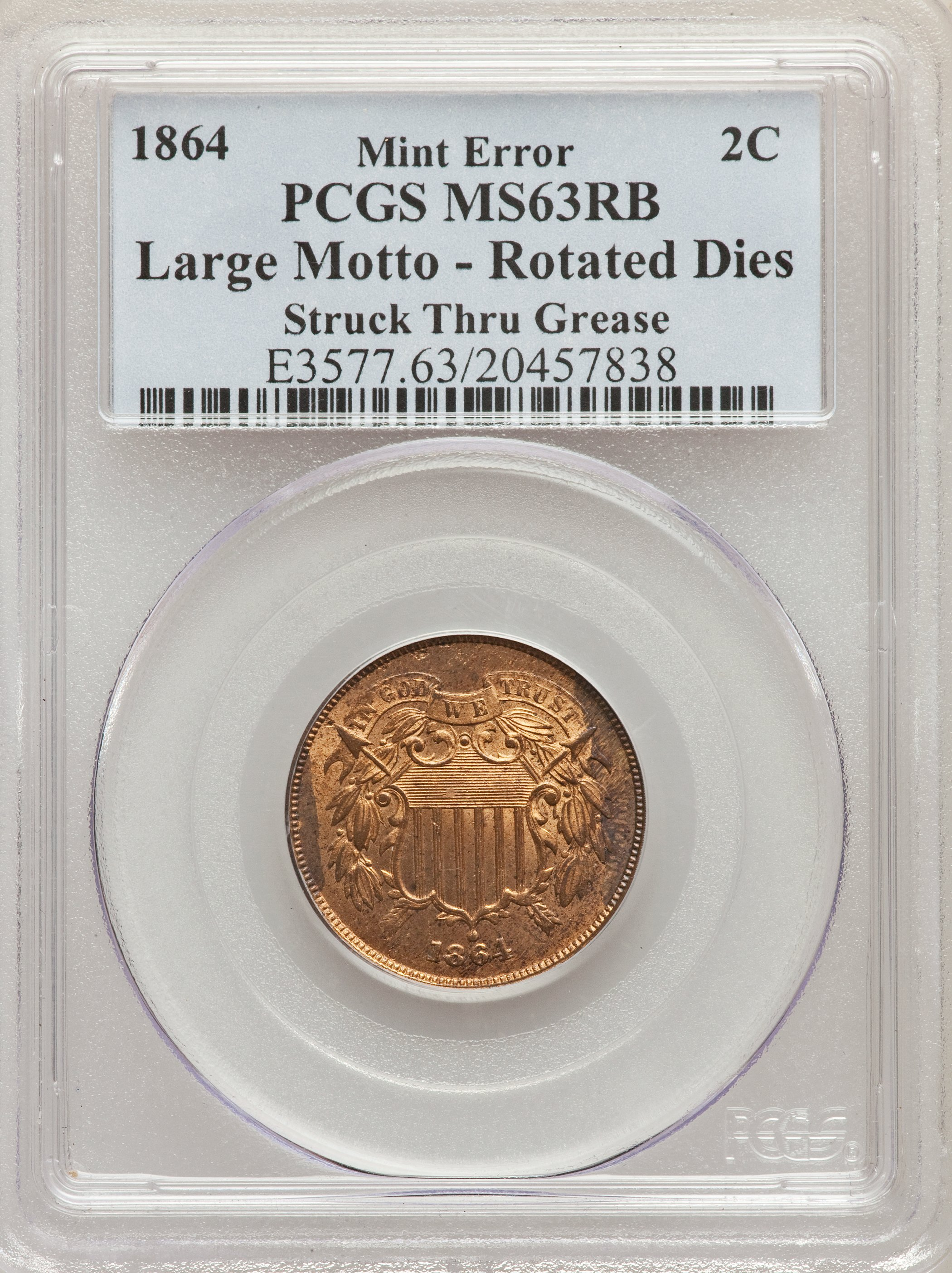 1864 2C Two Cent Piece, Large Motto, -- Rotated Dies, Struck