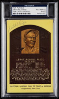 Autographs:Post Cards, Signed Satchel Paige Hall of Fame Plaque Post Card PSA/DNAAuthentic. ...