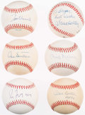 Autographs:Baseballs, 300 Wins Club Single Signed Baseball Lot of 6.. ...