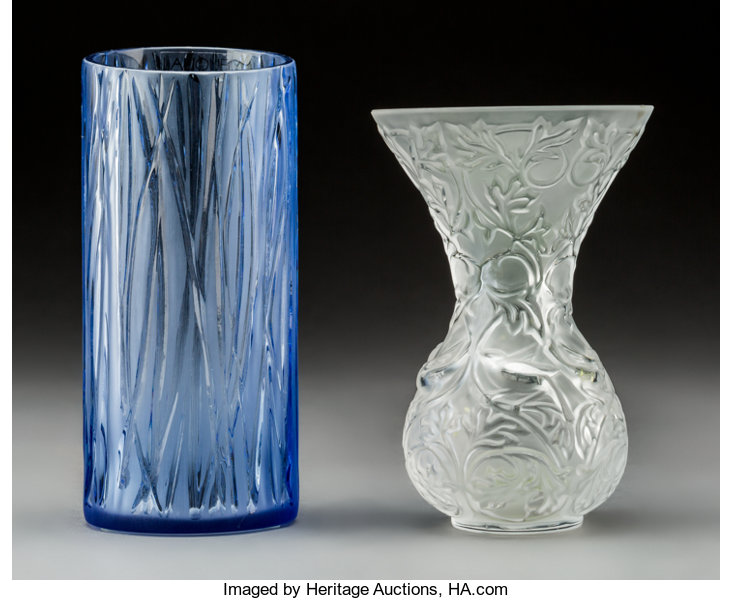 Two Lalique Glass Vases Includes Blue Nouvelle Lune And Frosted