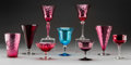 Art Glass:Steuben, Sixteen Steuben Amethyst, Rose, and Celeste Blue Glass Goblets.Circa 1920. Ht. 8-1/8 in. (tallest). ... (Total: 16 Items)