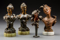 Decorative Arts, French, Four Art Nouveau Patinated Bronze and Metal Busts. Circa 1910.Various marks. Ht. 8-1/2 in. (tallest, pair). PROPERTY FROM A...(Total: 4 Items)