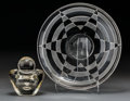 Art Glass:Other , Jean Luce Glass Plate and Leerdam Clear Glass Lidded Vase . Circa1930. Engraved (double E cipher); (Leerdam logo). Di. 12 i...(Total: 3 Items)
