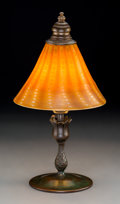 Art Glass:Tiffany , Tiffany Studios Persian Favrile Glass and Bronze Desk Lamp.Circa 1910. Base stamped TIFFANY STUDIOS, NEW YORK, ... (Total: 2Items)
