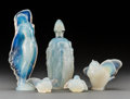 Art Glass:Other , Five Sabino Opalescent Glass Various Items. Post-1935. Molded andengraved Sabino, Paris, (paper labels) (various). Ht. ...(Total: 5 Items)