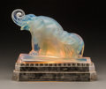 Art Glass:Other , Sabino Opalescent Glass Elephant Mother and Calf Lamp .Circa 1930. Molded to both base and glass Sabino, Pari...(Total: 2 Items)