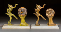 Near Pair of Art Nouveau Patinated Metal and Marble Figural Lamps with Glass Globes Circa 1915. Ht. 8-5/8 x W. 10-