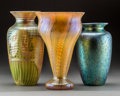 Art Glass:Other , Three American Decorated Iridescent Glass Vases. 20th century.Spurious marks engraved to the undersides. Ht. 11-1/4 in. (ta...(Total: 3 Items)