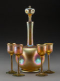 Art Glass:Tiffany , Five-Piece Tiffany Studios Gold Favrile Glass Decanter Set. Circa1910. Engraved to decanter L.C. Tiffany - Favrile, 519...(Total: 5 Items)