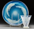 Art Glass:Other , Sabino Opalescent Glass Coupe Spirale Charger andCarangues Vase. Circa 1935. Molded SABINO, PARIS. ...(Total: 2 Items)